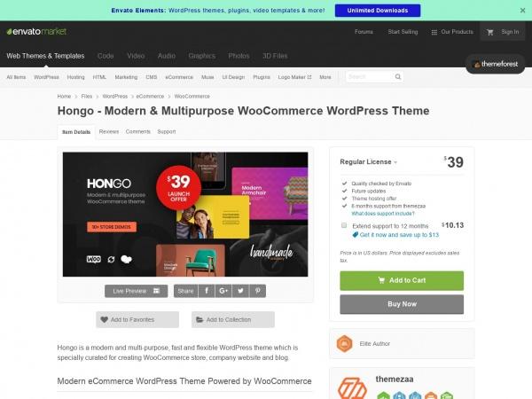 Hongo WooCommerce Theme