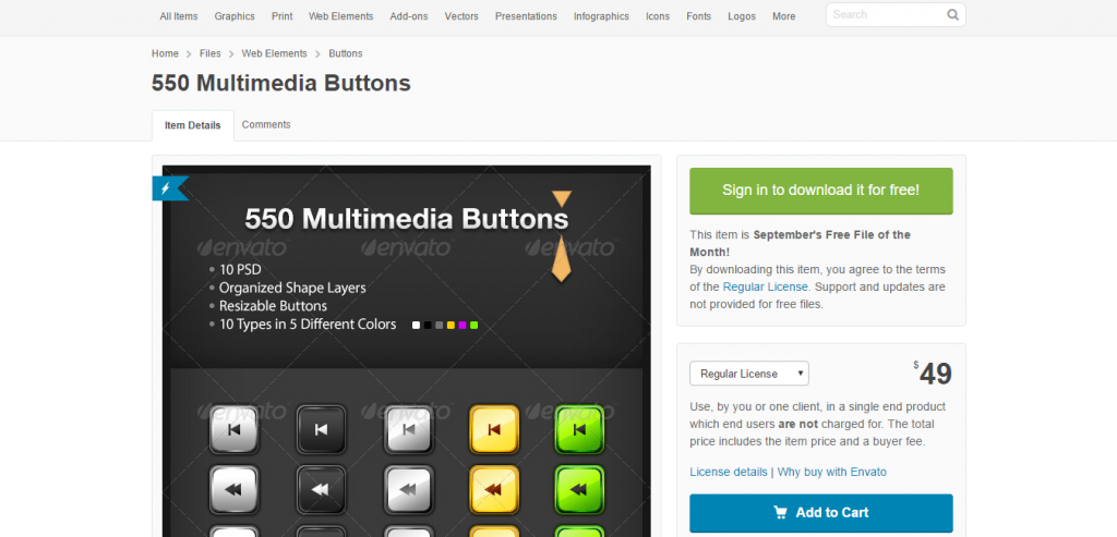 550 Multimedia Buttons by RoyVelvet