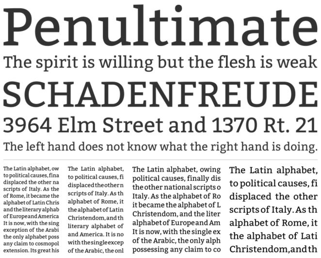 Bitter slab serif font