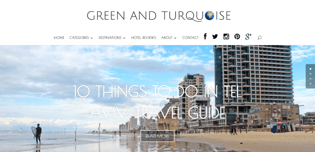 Green and Turquoise Travel Blog