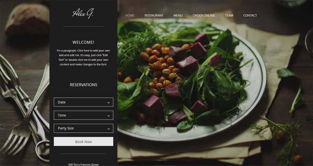 Restaurant Site Wix Template