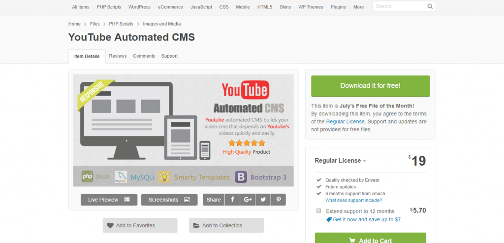 YouTube Automated CMS CodeCanyon