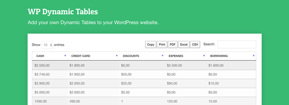WordPress Dynamic Tables