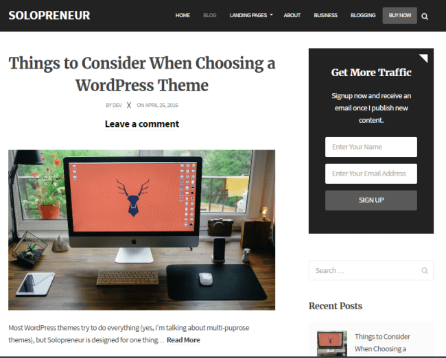 solopreneur wordpress theme